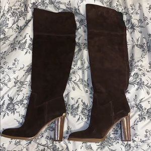 Michael Kors Knee High Brown Heeled Boots